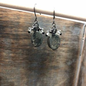 Jewelry - Metallic Stone and Beaded Drop Earrings